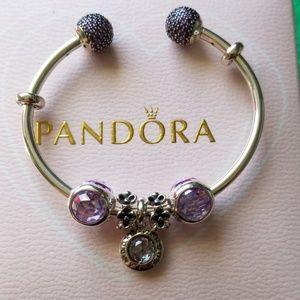 Authentic pandora charm pave bangle bracelet